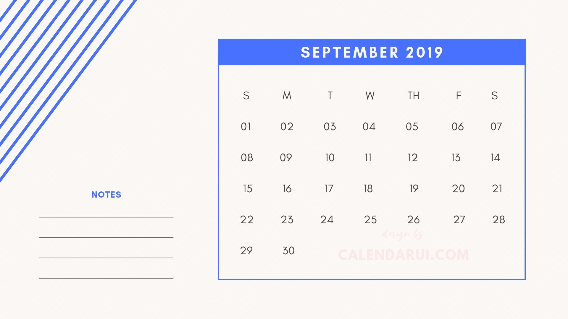9 September Printable Mini Calendar 2019 Template With Notes throughout Mini Calendar Template