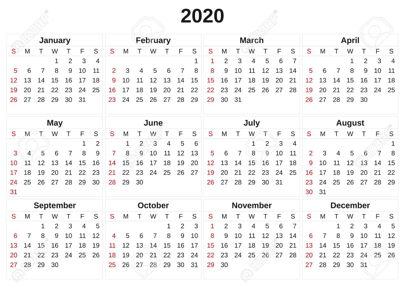 A 2020 Annual Calendar With White Background. with regard to Calendars Michel Zbinden 2020