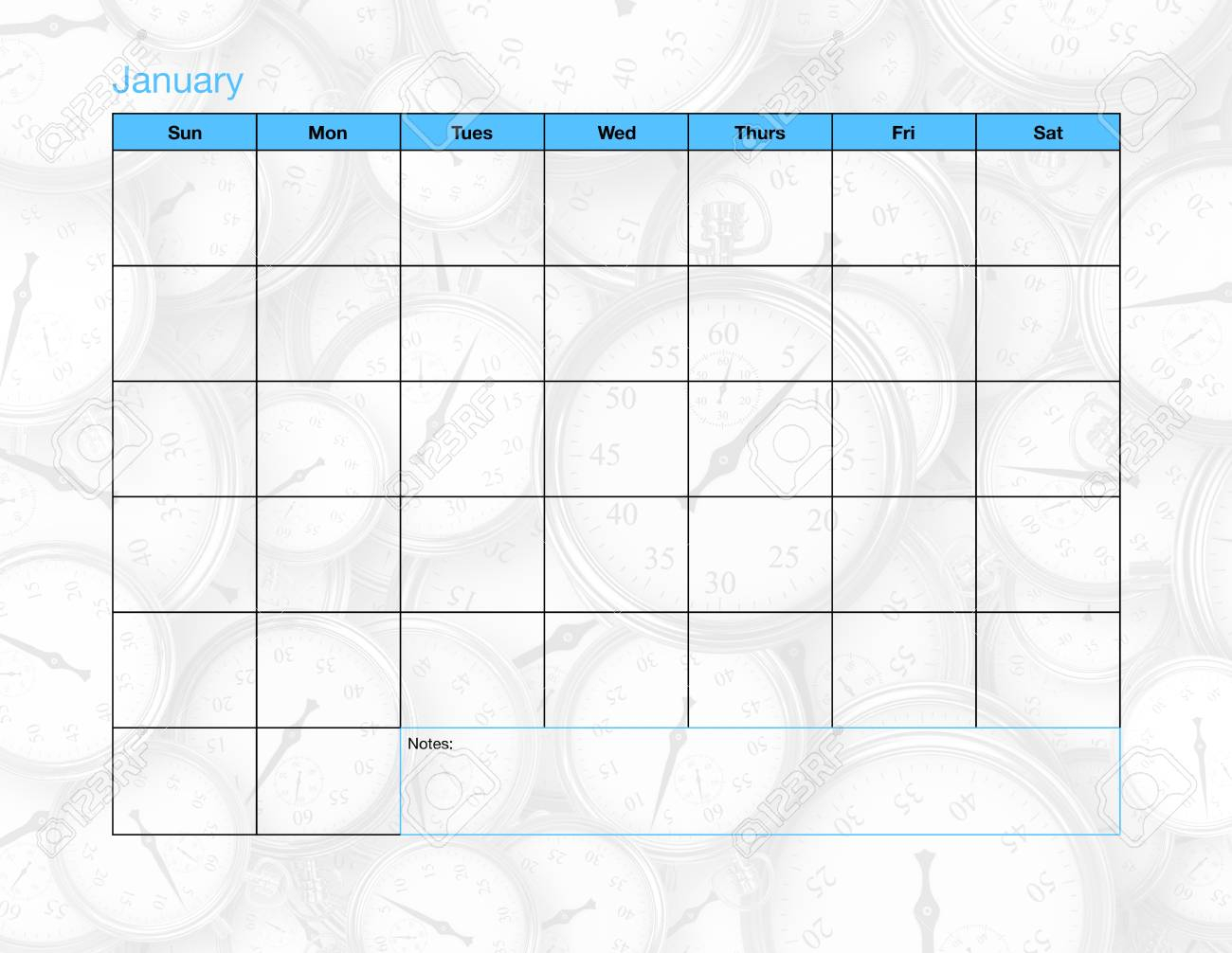 A Blank Calendar Page With Only The Days And The Month Listed.. for 30 Day Blank Calendar