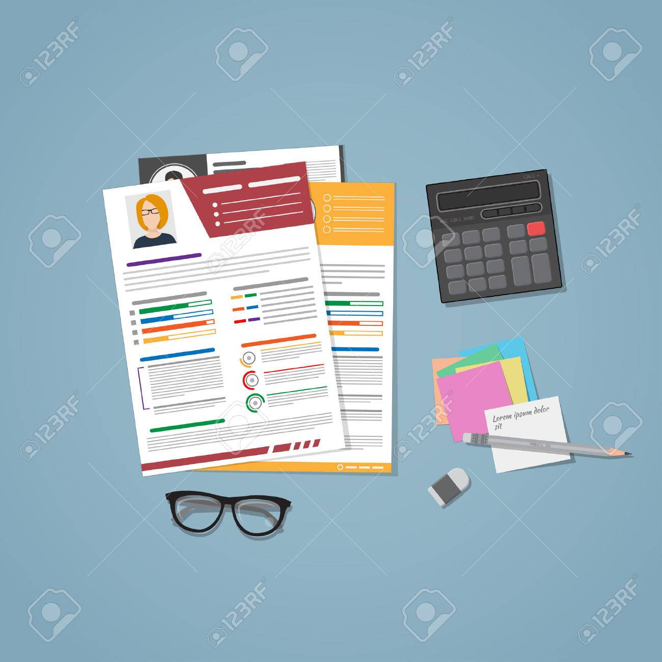A Few Cvs For Hiring In Flat Style. Managers Workplace For Recruiting.. for Cvs Desk Calendar