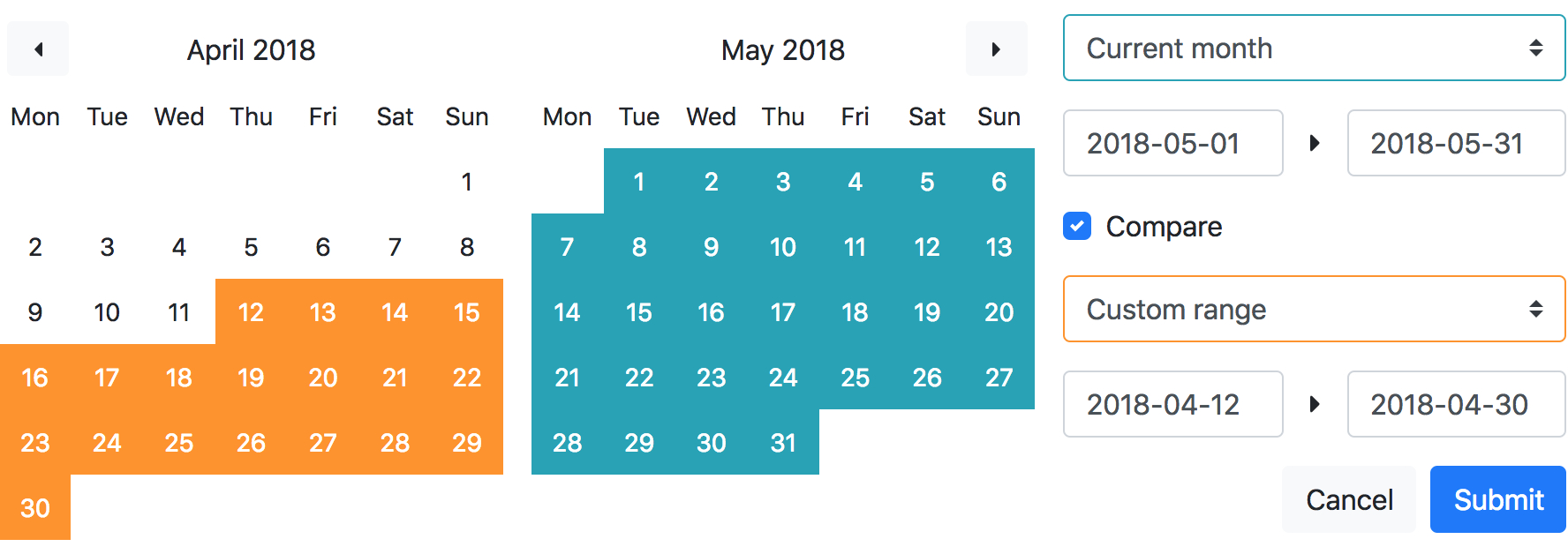 A Vue Component Using Bootstrap 4 Styles For Date Range regarding Bootstrap Calendar Icon