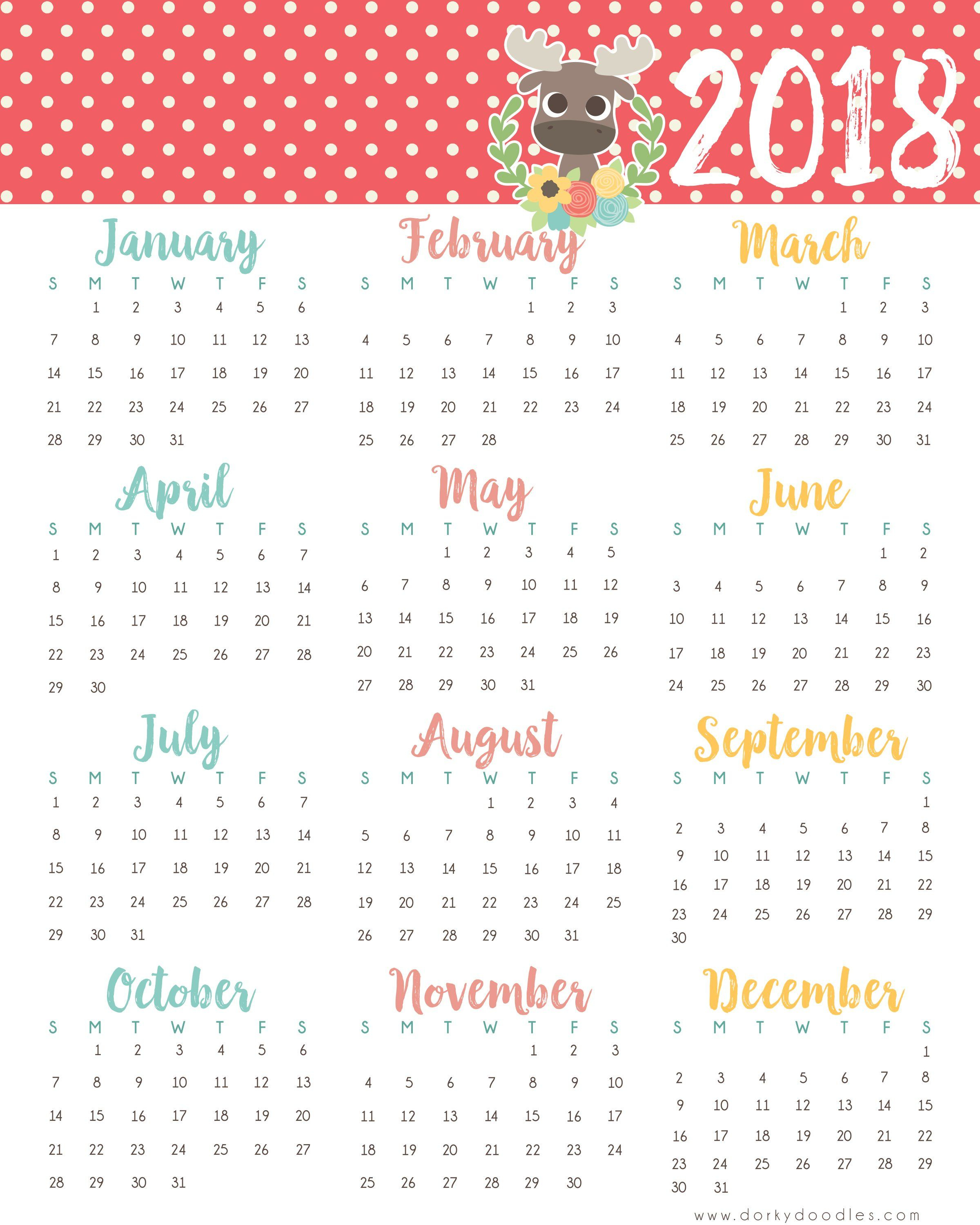 A Year At A Glance  Printable 2018 Calendar | Календарь with regard to Year At A Glance Calendar Printable