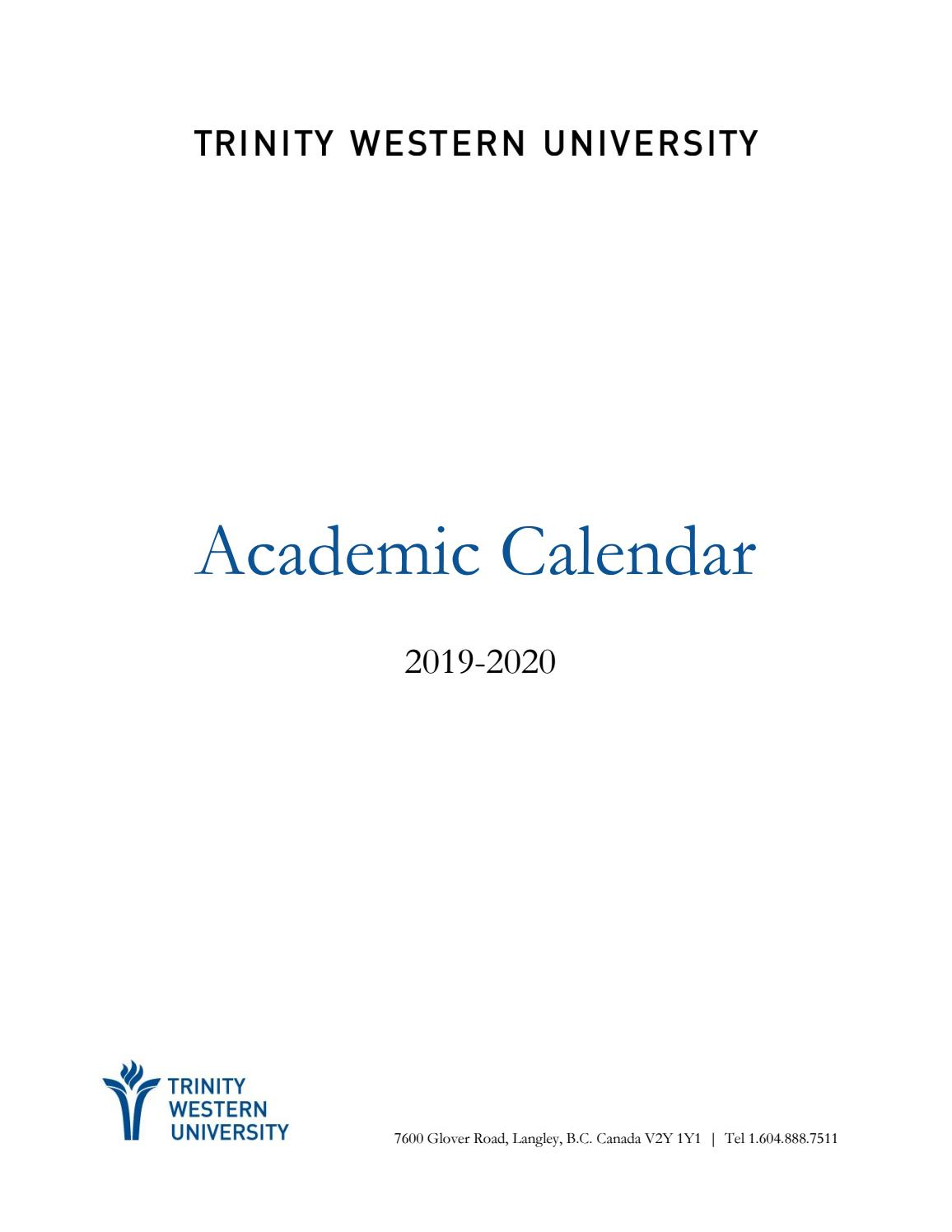 Academic Calendar 20192020 By Twu  Issuu intended for Triple C School Calendar 2020