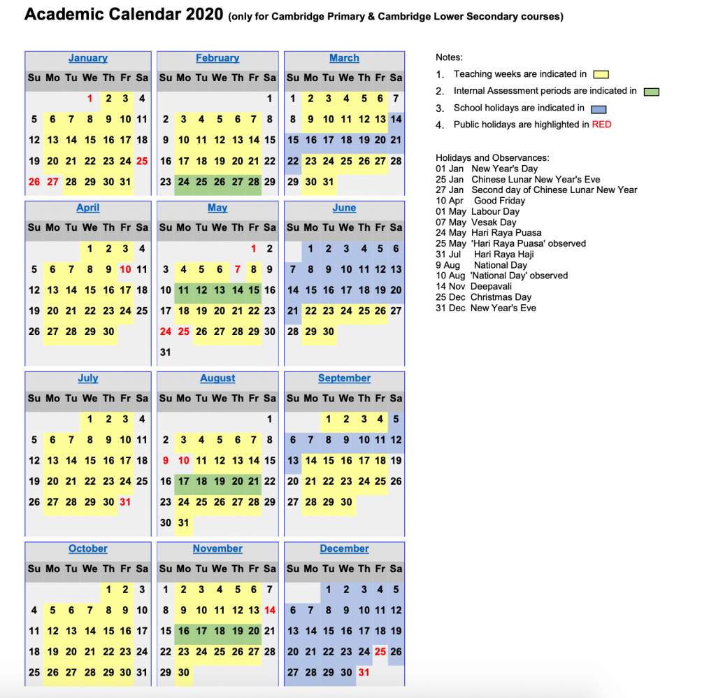 Academic Calendar 2020 – Touchstone within Pei School Calendar 2020