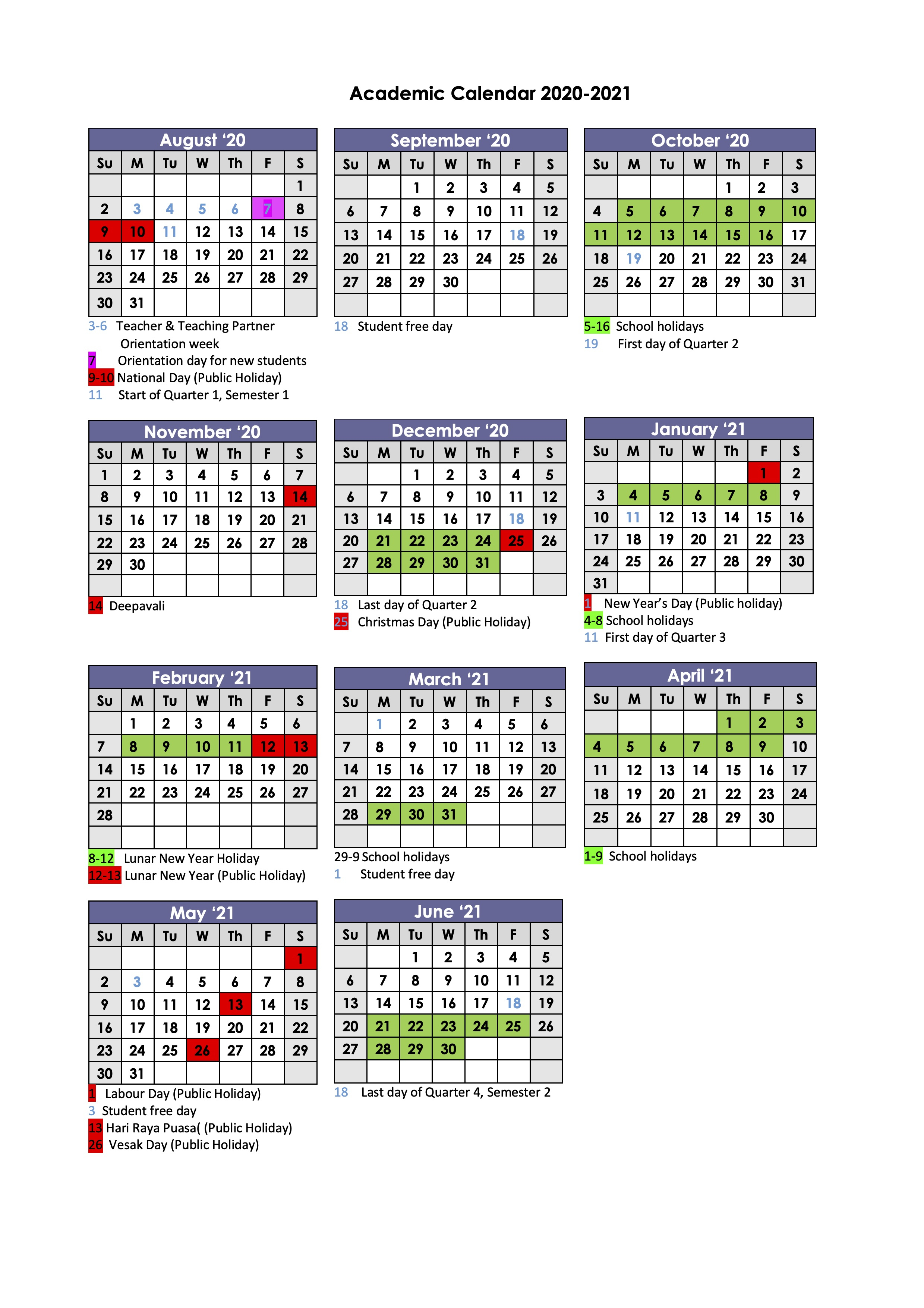 Academic Calendar | Gems World Academy (Singapore) in Gems World Academy Academic Calendar