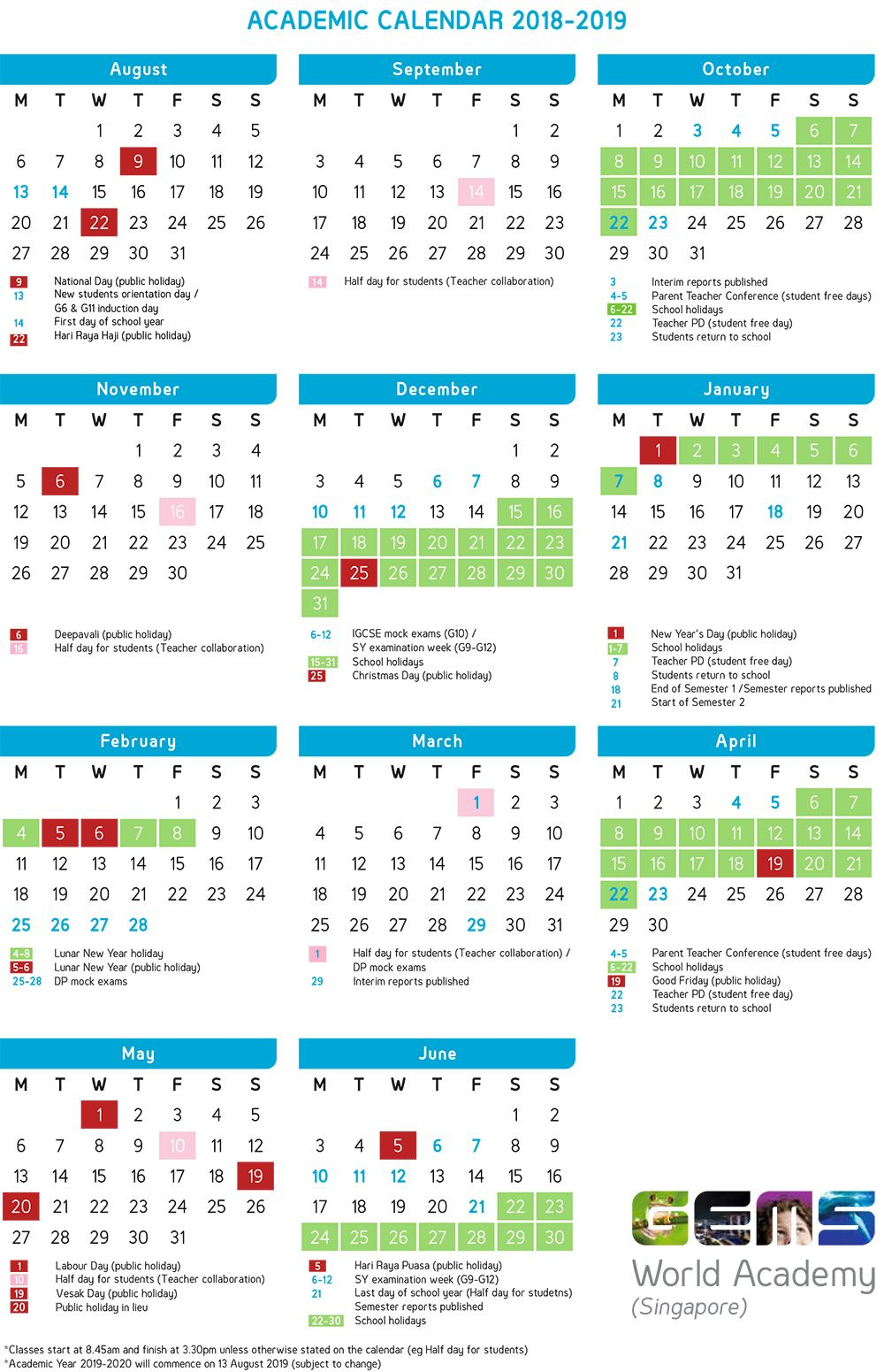 Academic Calendar | Gems World Academy (Singapore in Gems World Academy Academic Calendar