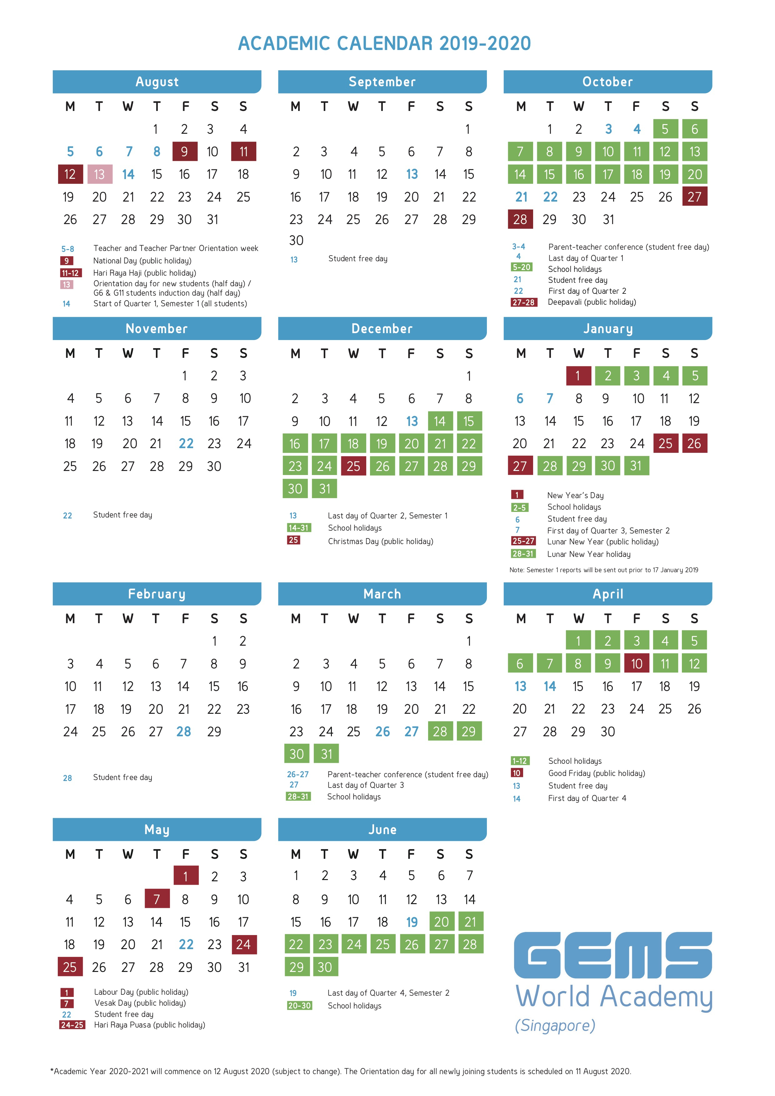 Academic Calendar | Gems World Academy (Singapore) within School Terms 2020 South Africa