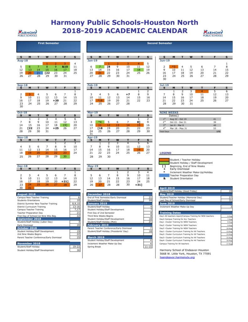 Academic Calendar – Harmony School Of Endeavor – Houston intended for Hisd Calendar 2018-19