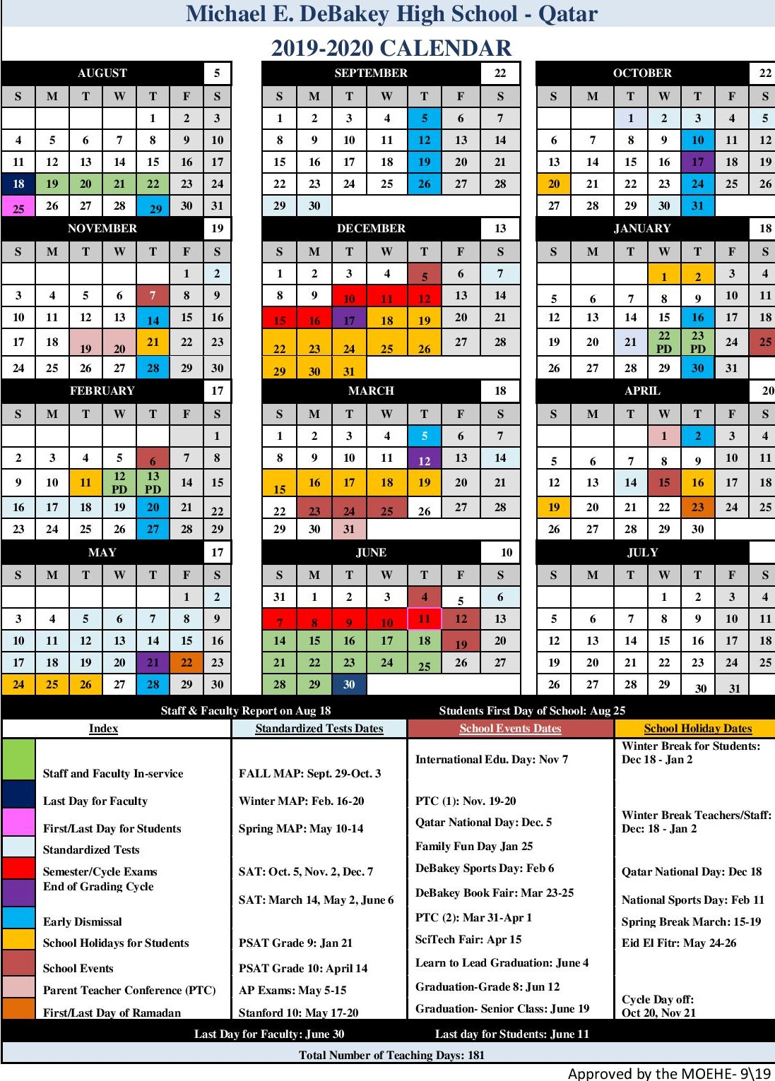Academic Calendar – Michael E. Debakey High School – Qatar for Debakey High School Calendar