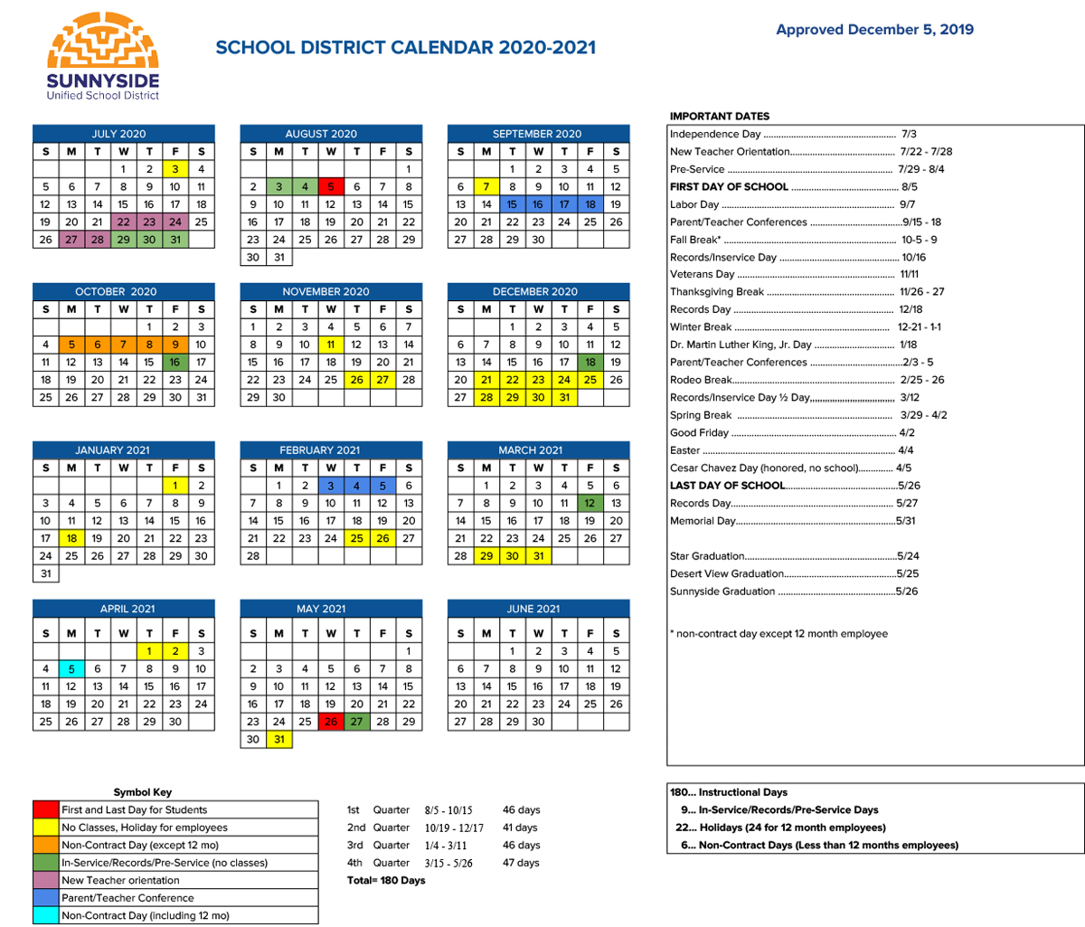 Academic Calendar | Sunnyside Unified School District pertaining to Berkeley Academic Calendar 2020