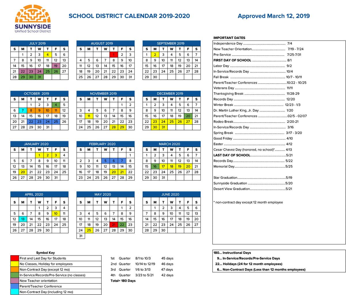 Academic Calendar | Sunnyside Unified School District regarding Berkeley Academic Calender