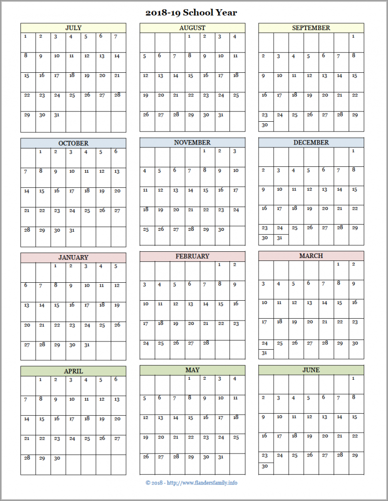 Academic Calendars For 201819 School Year (Free Printable regarding Year At A Glance Calendar Printable