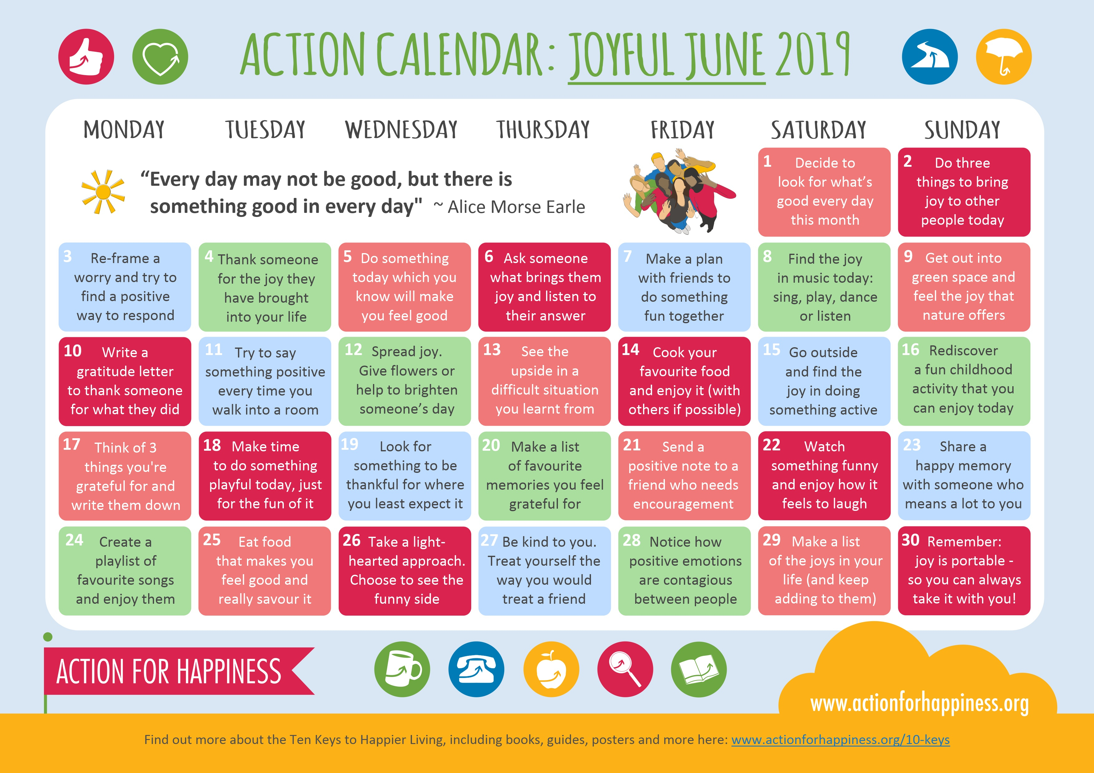 Action For Happiness inside Time And Action Calendar