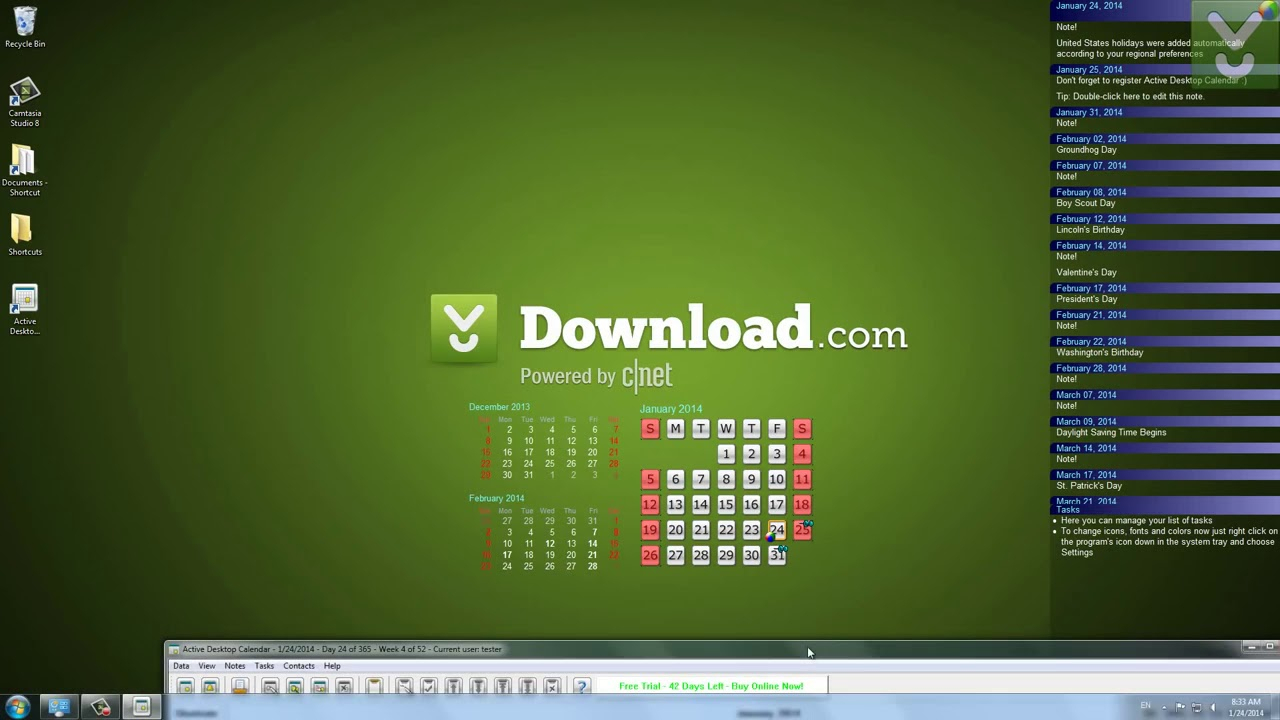 Active Desktop Calendar  Set A Customizable Calendar As intended for Active Desktop Calendar 7.96
