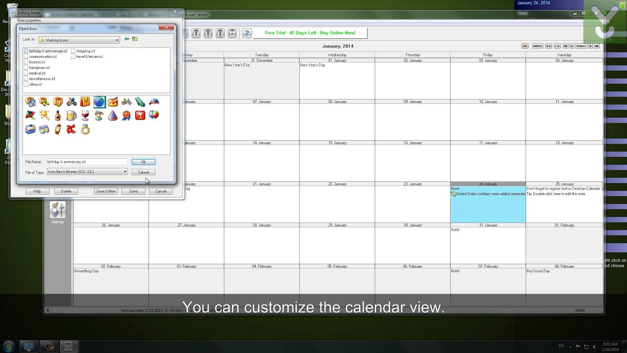 Active Desktop Calendar  Set A Customizable Calendar As Your Wallpaper   Download Video Previews within How To Make Google Calendar Desktop Background