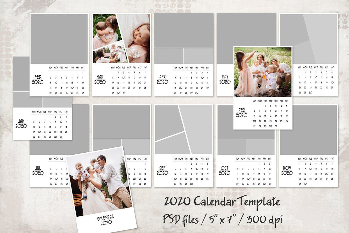 "Ad: 2020 Calendar Template 5"" X 7"" By Happynews On for 2020 Calendar Psd File"