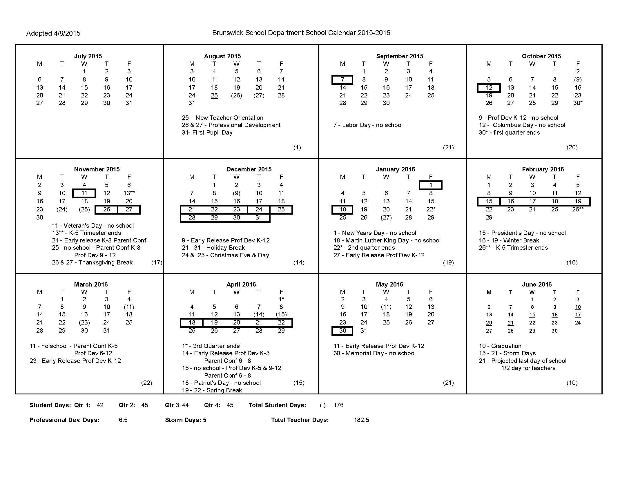 Adopted Calendar 20152016V1  Brunswick School Department for Uti School Calendar