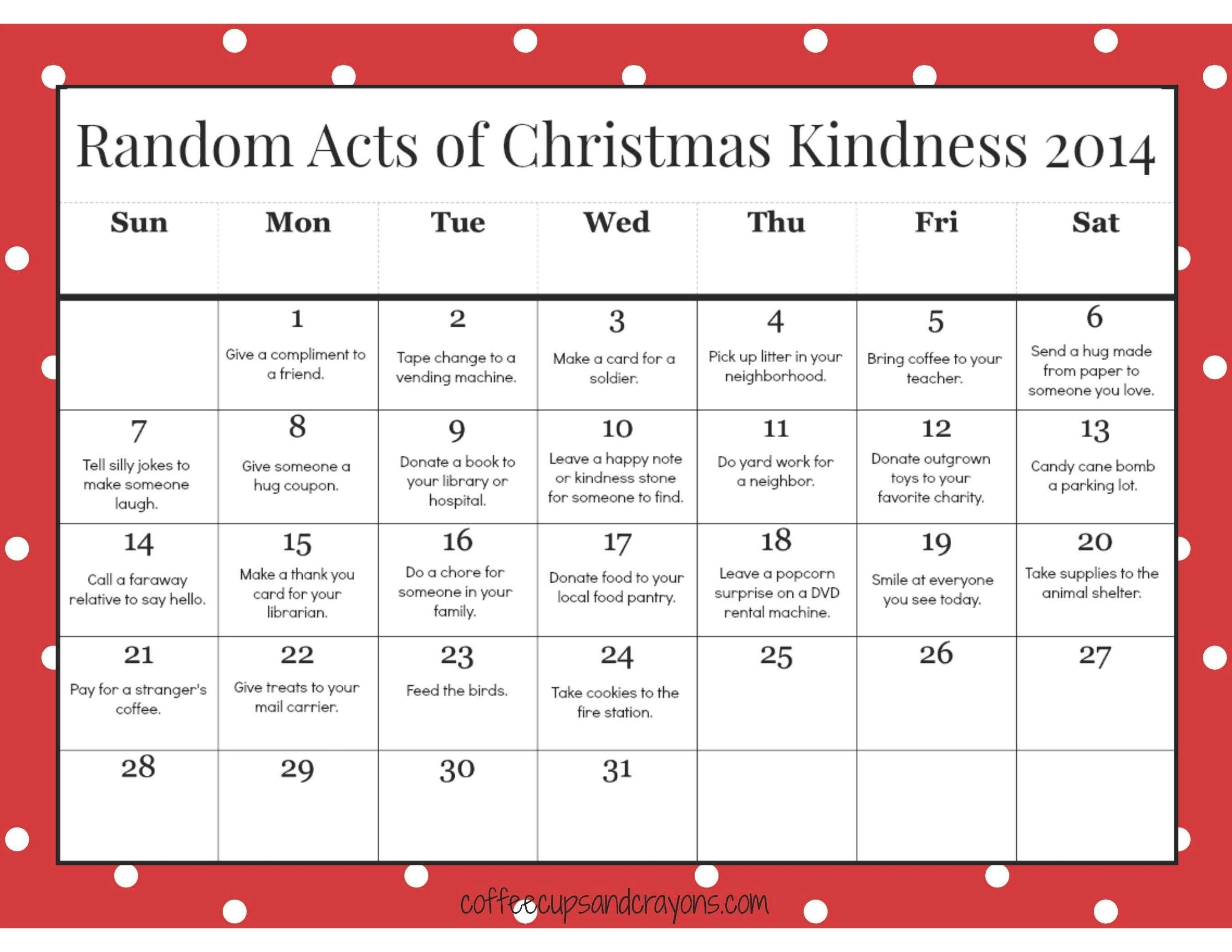Advent Calendar Template Ks2 | Free Calendar Template Example intended for Kindness Calendar Template