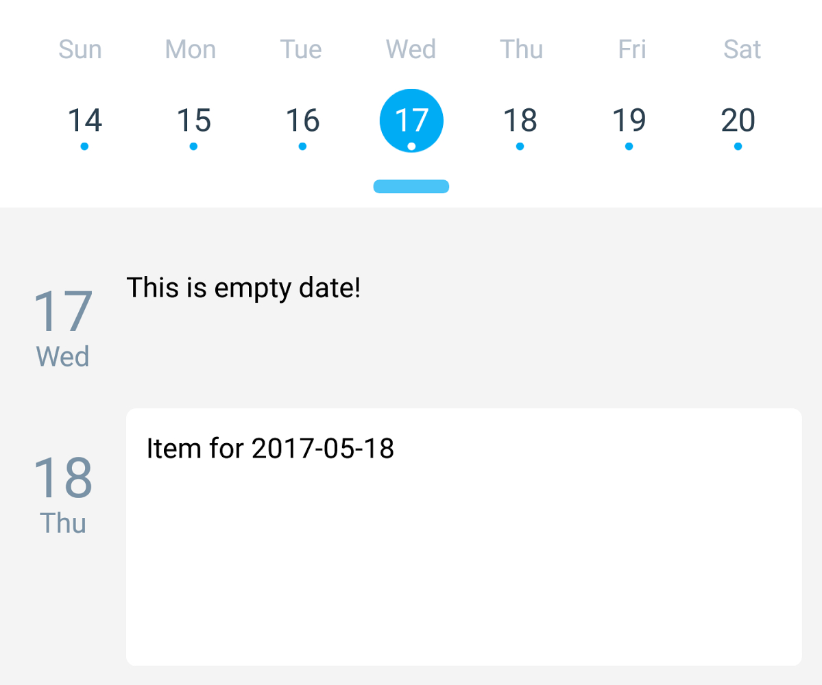 Agenda: Empty Dates Have Dots In Calendar View · Issue #215 intended for React-Native-Calendars Agenda Example