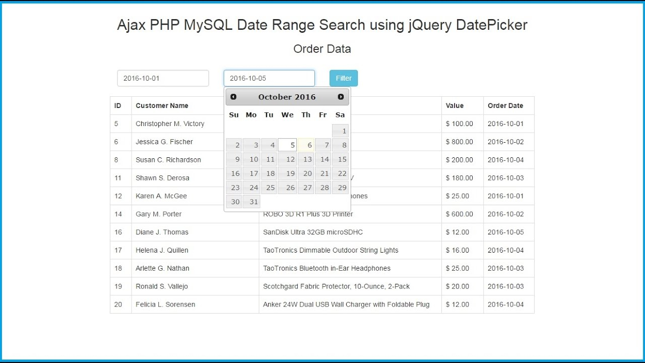 Ajax Php Mysql Date Range Search Using Jquery Datepicker with Php Calendar Date Picker