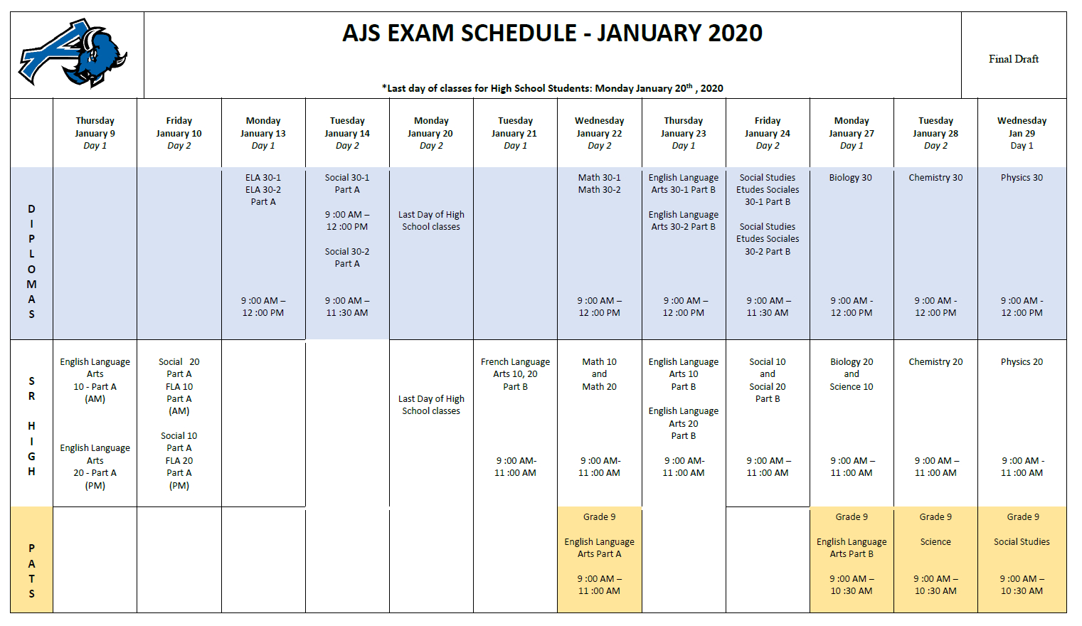 Ajs Exam Schedule January 2020 | Ardrossan Junior Senior High in Fr Haythorne Calendar