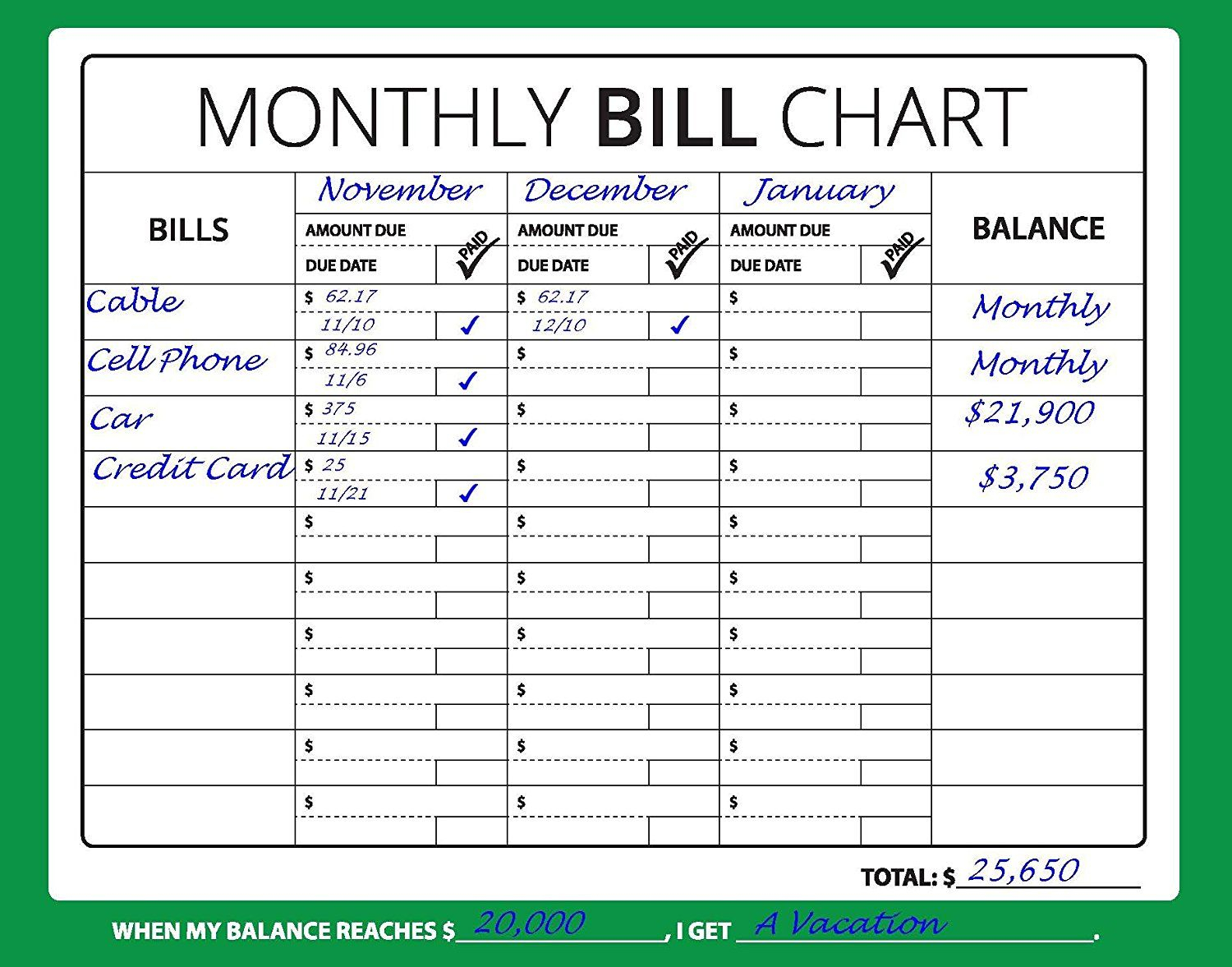 Amazon : 16X12 Monthly Bill Chart (Budget, Expense regarding Printable Monthly Bill Chart