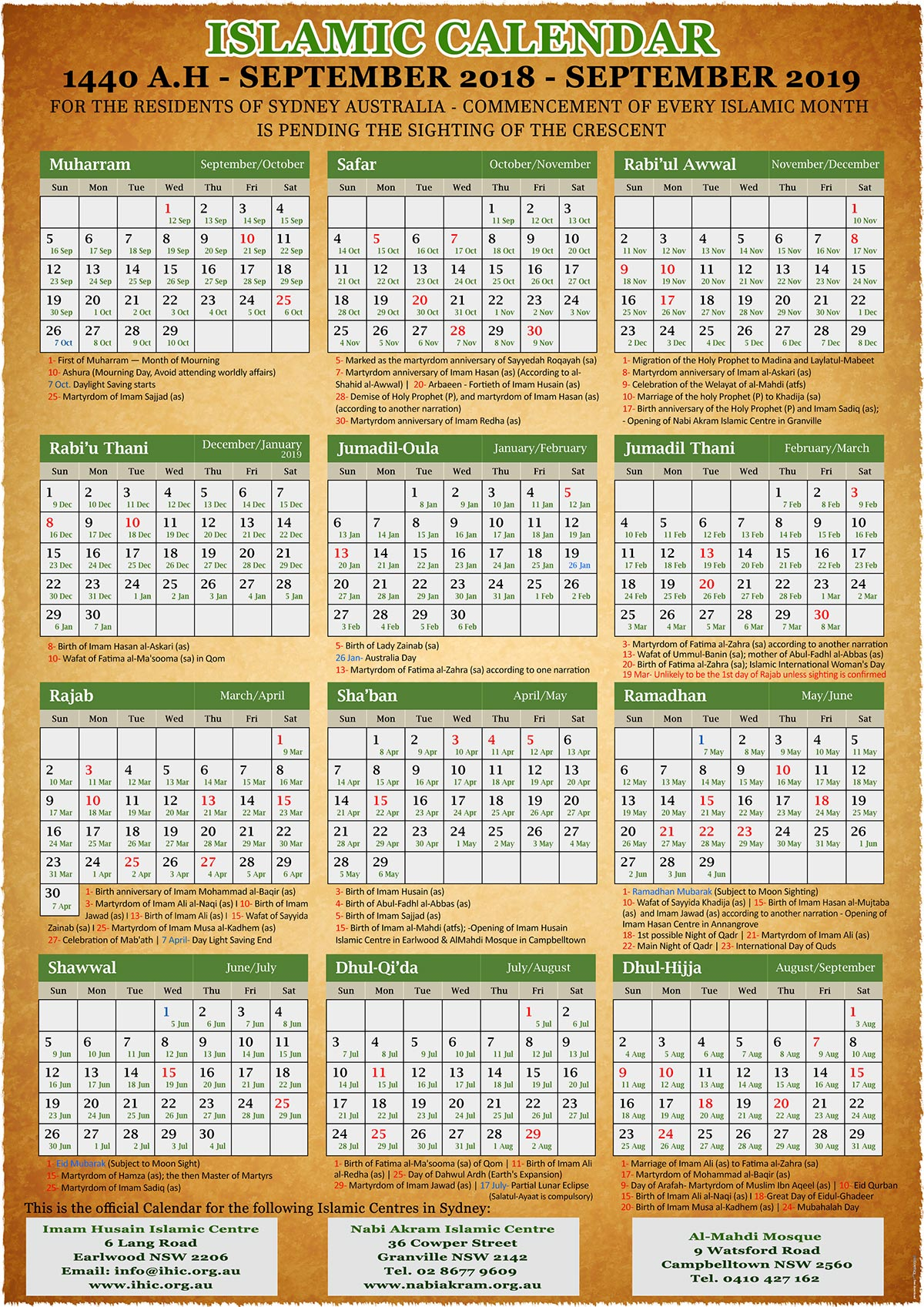 Annual Islamic Calendar 1440 A.h. (2019) – Imam Husain intended for 1440 Hijri Calendar