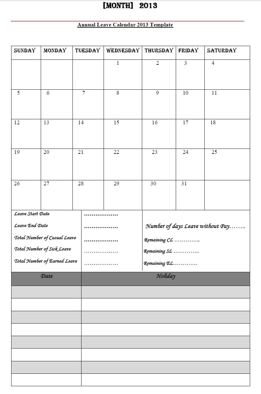 Annual Leave Calendar 2013, Annual Leave Calendar 2013 regarding Annual Leave Calendar Template