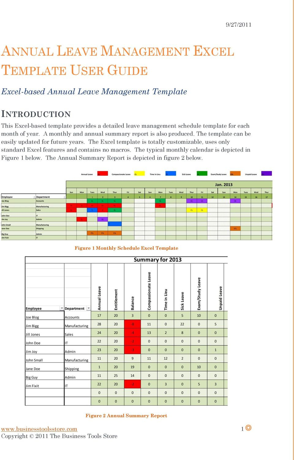 Annual Leave Management Excel Template User Guide  Pdf Free with regard to Annual Leave Calendar Template