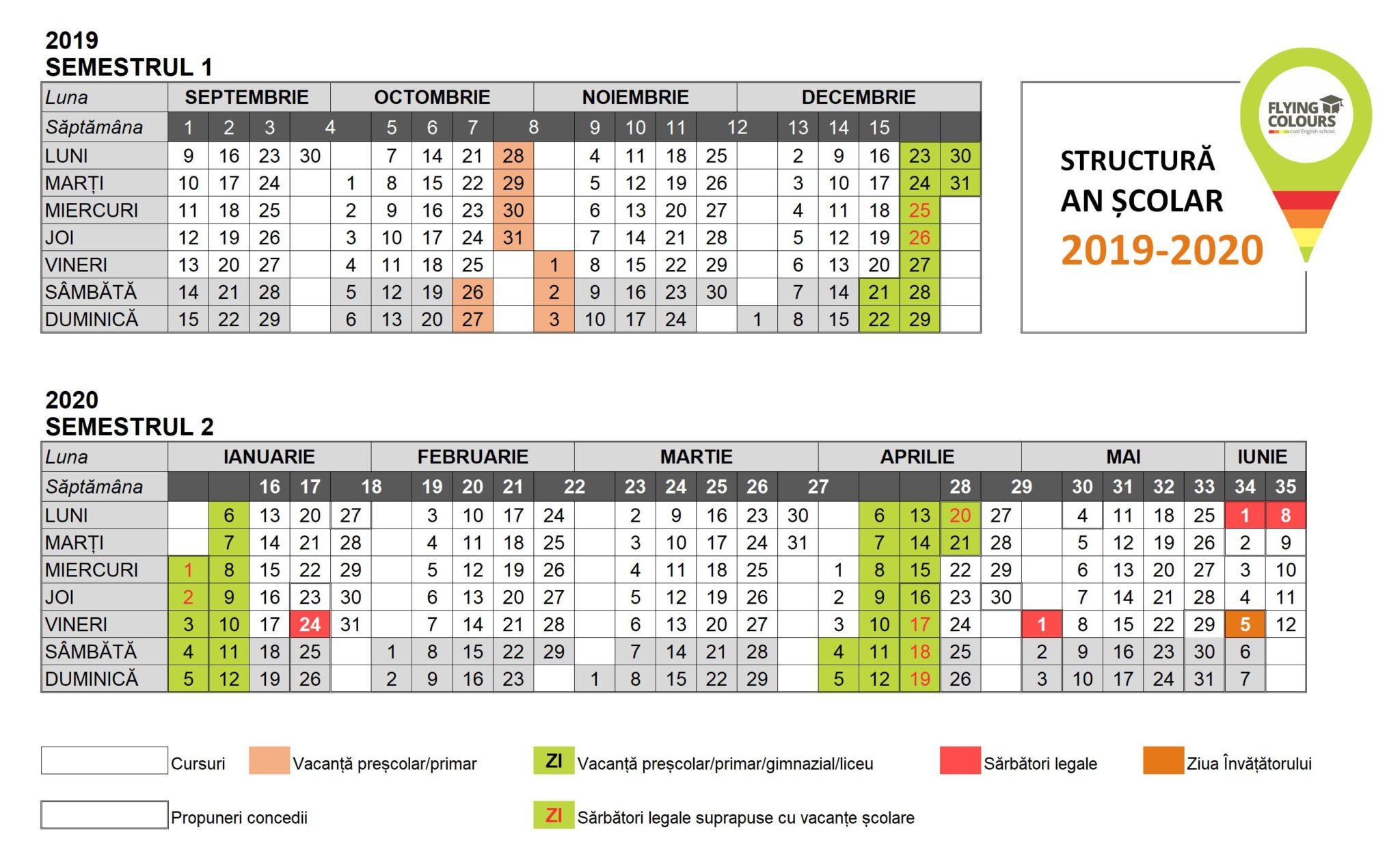 Anul Școlar 20192020 Vine Cu Multe Sărbători Legale within Calendar 2020 Cu Zile Lucratoare