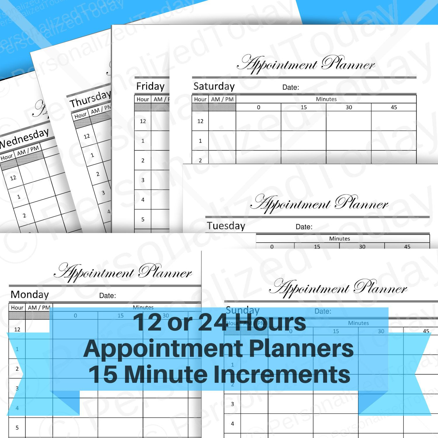 Appointment Booking Printable 15 Minute Time Slots Schedule with Planner With 15 Minute Time Slots