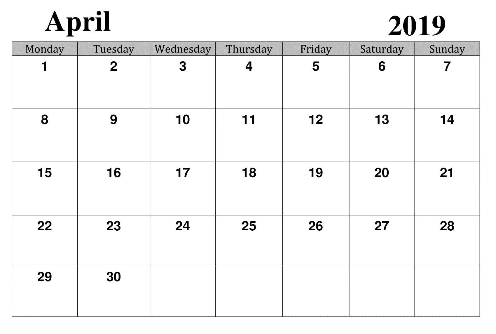 April 2019 Printable Template Calendar | Blank Calendar in Google Calendar Printable Template