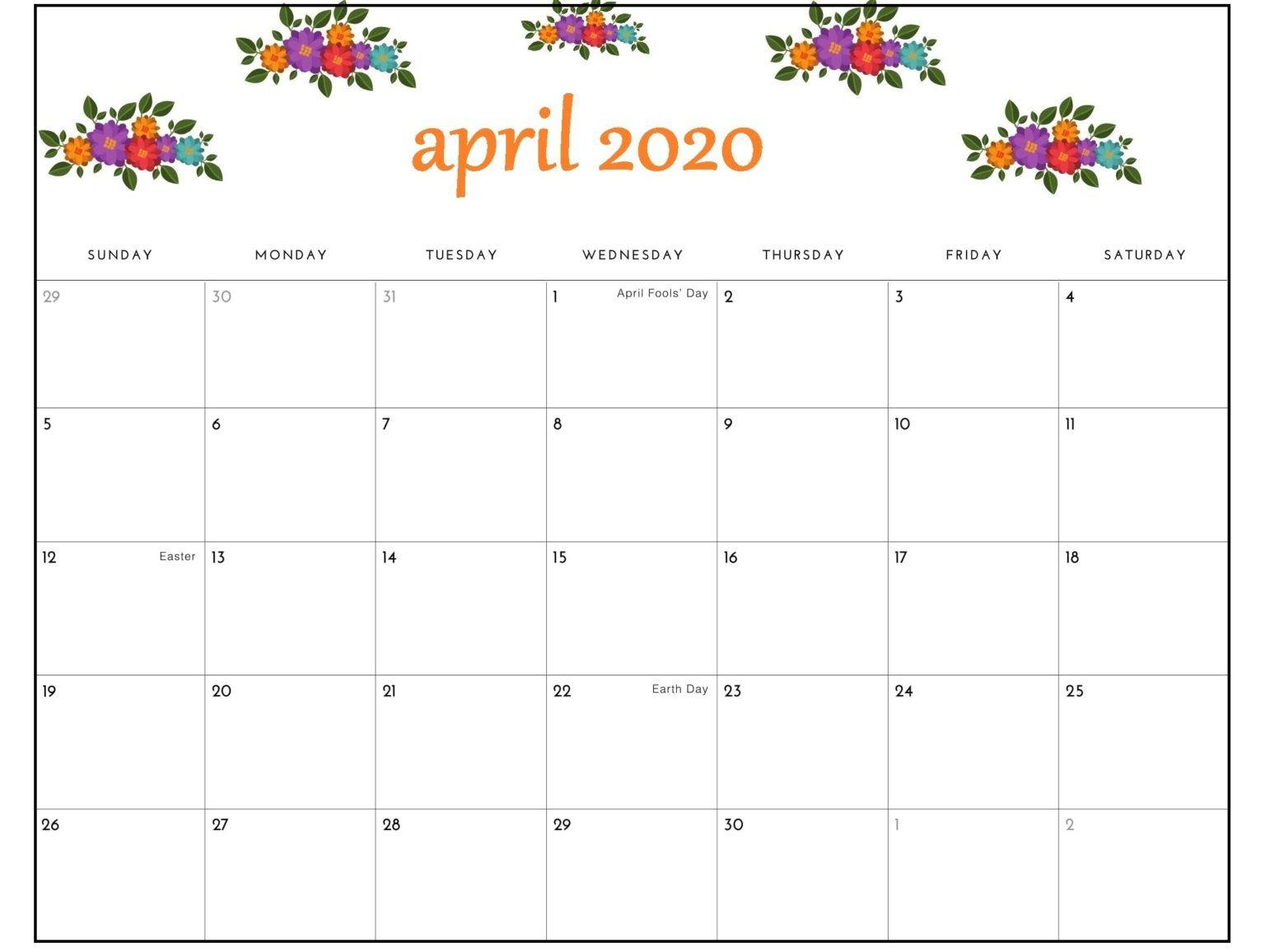 April 2020 Calendar Pdf Sheet For Exam | Free Printable in Free Printable April 2020 Calendar