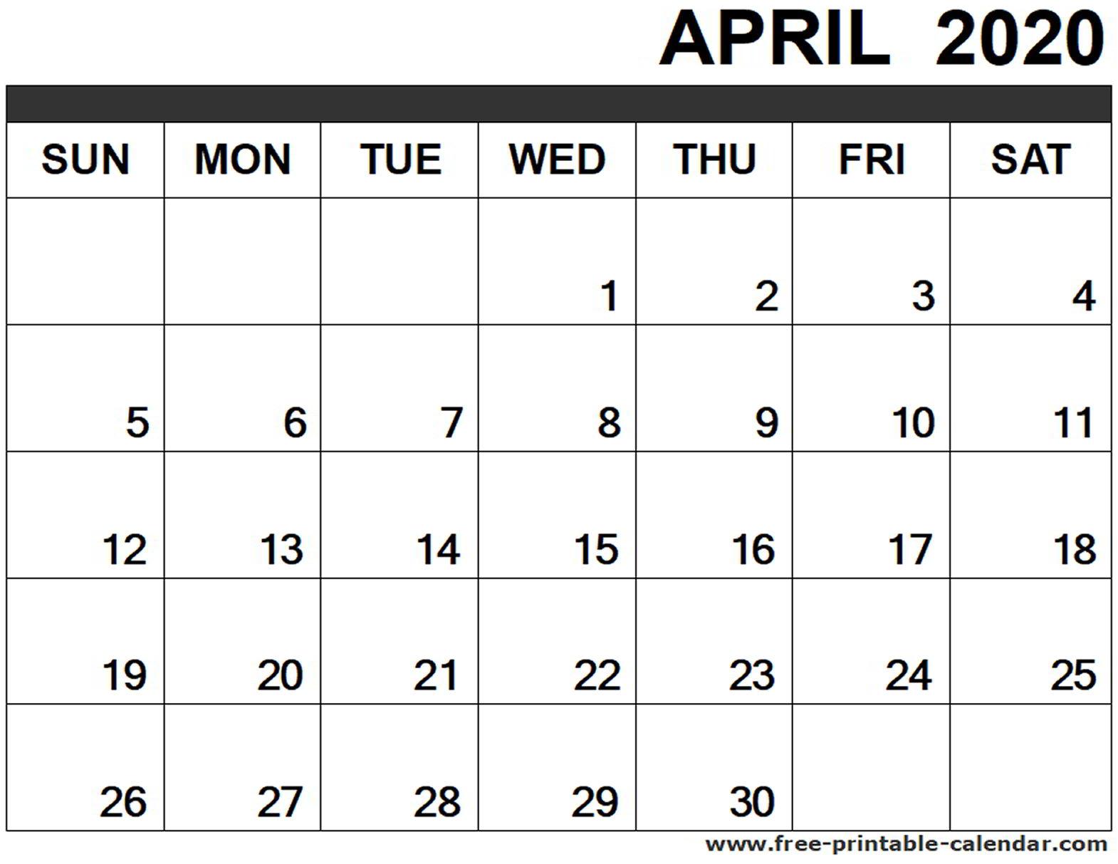 April 2020 Calendar Printable  Freeprintablecalendar intended for Free Printable April 2020 Calendar
