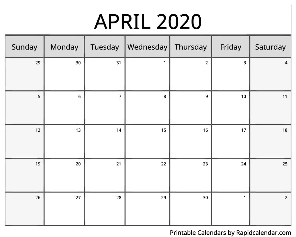 April 2020 Calendar Printable  Rapid Calendar inside Calendars Michel Zbinden 2020