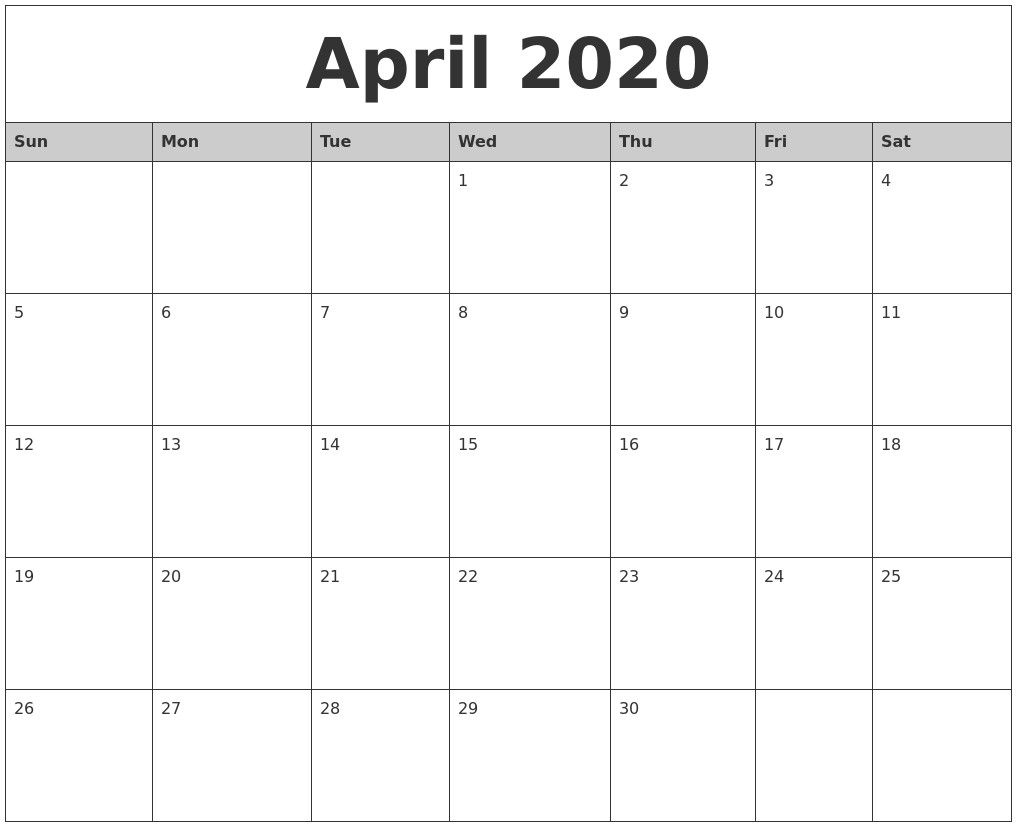 April 2020 Monthly Calendar Printable January 2020 Calendar with Vertex42 Monthly Calendar