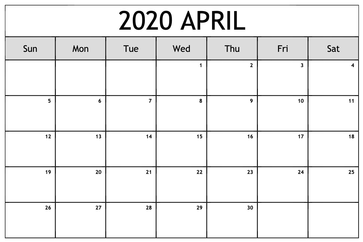 April 2020 Printable Calendar – Free Download Monthly | 12 regarding Free Printable April 2020 Calendar