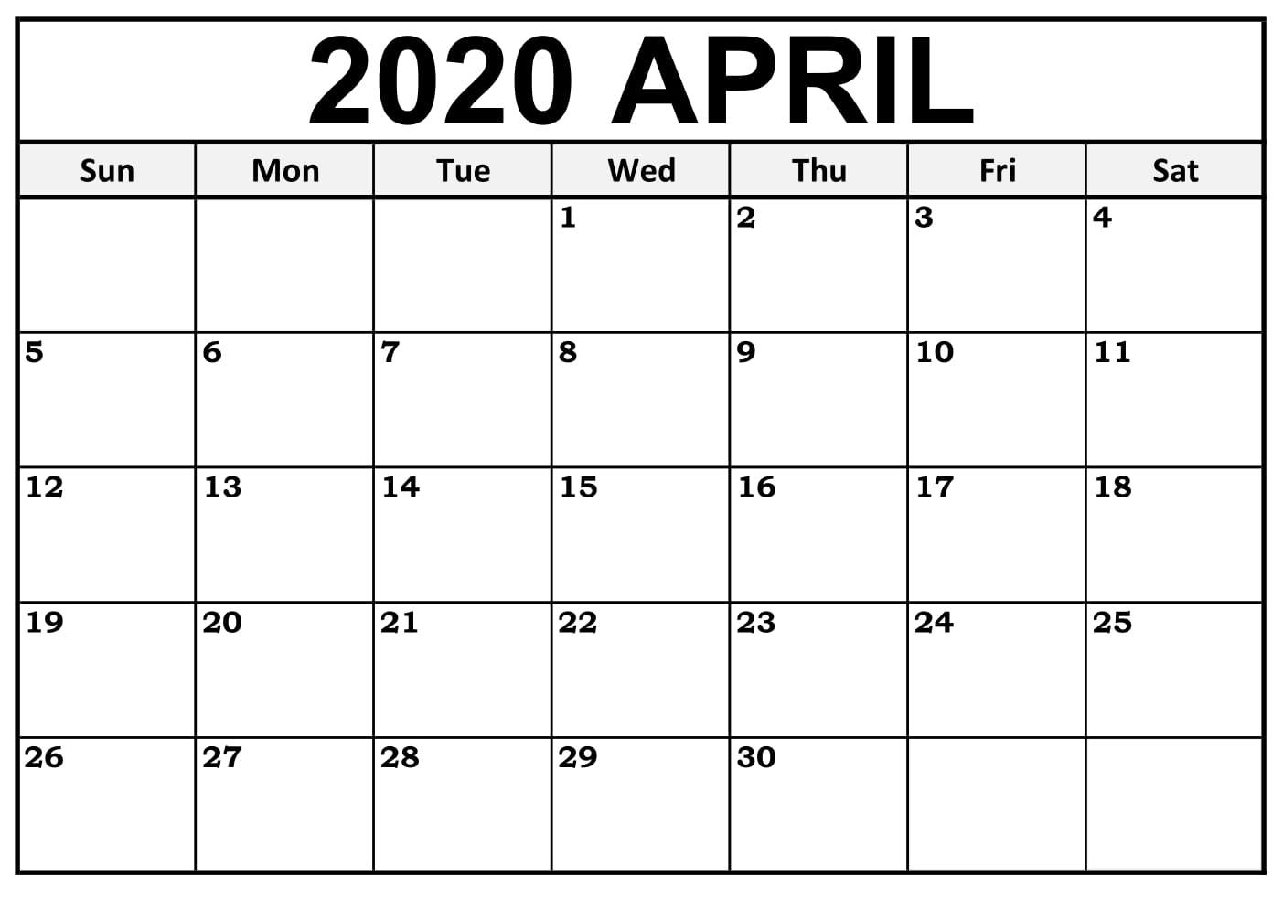 April 2020 Printable Calendar – Template Pdf, Word & Excel with regard to April 2020 Printable Calendar