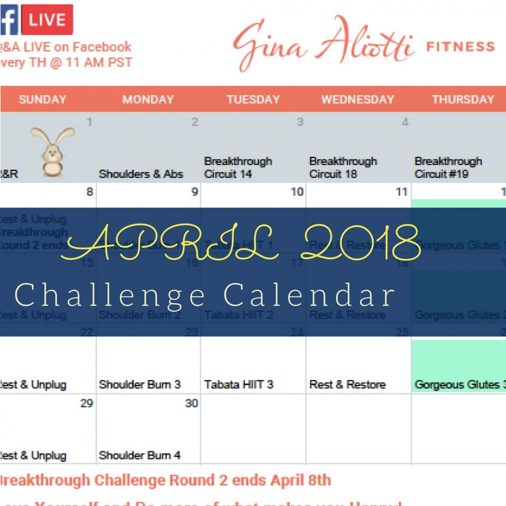 April Challenge Calendar  Gina Aliotti Fitness with Tl Waggoner Calendar