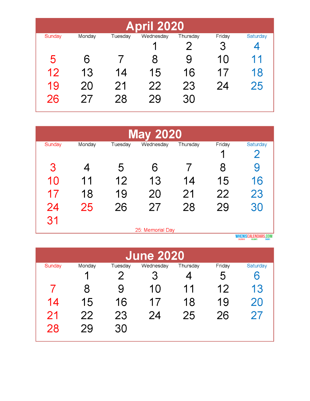April May June 2020 Calendar 3 Months Per Page Printable in Printable Calendar 3 Months Per Page