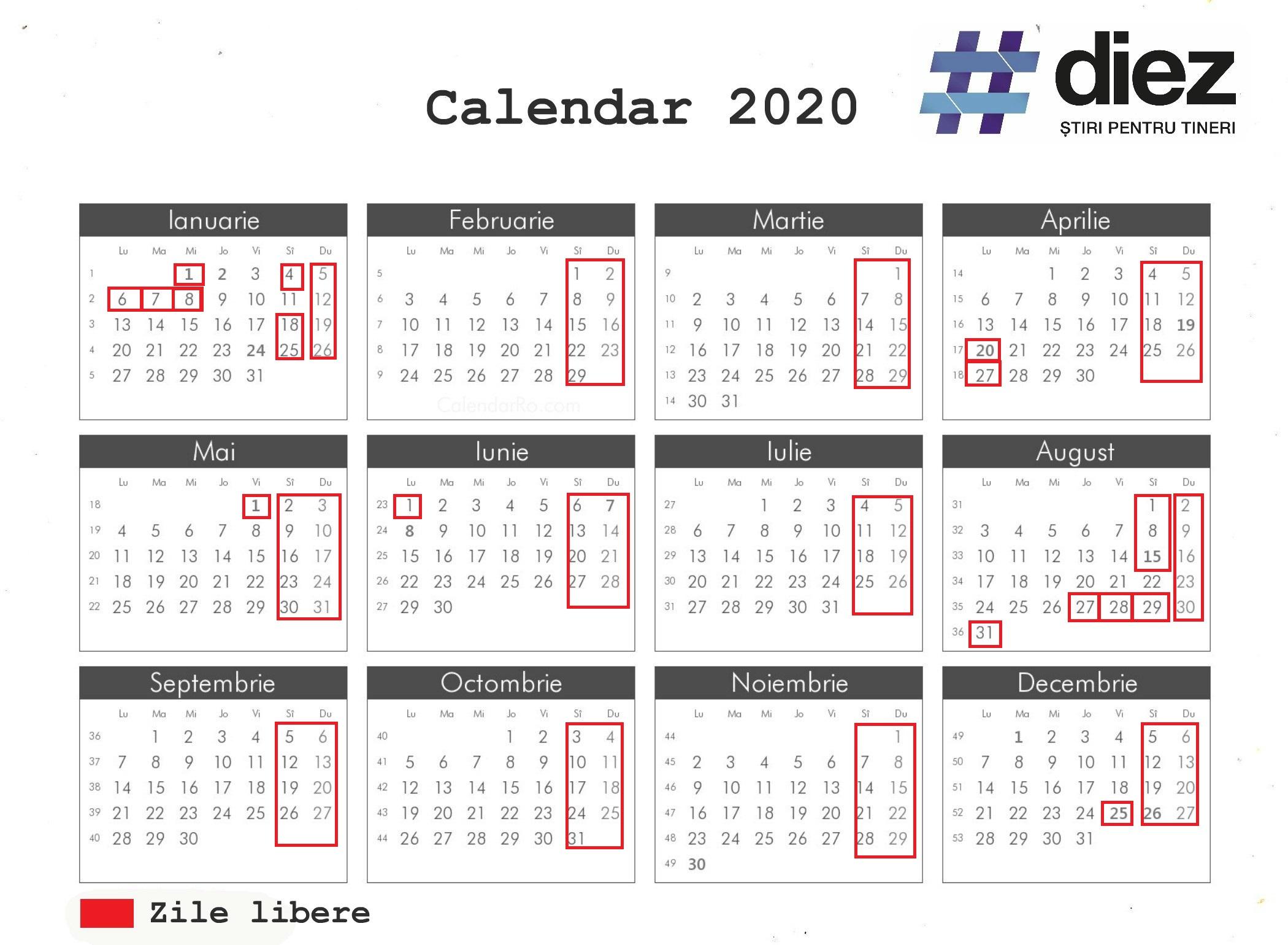 Aprobat De Guvern! Care Vor Fi Zilele De Odihnă În Anul 2020 for Calendar 2020 Cu Zile Lucratoare