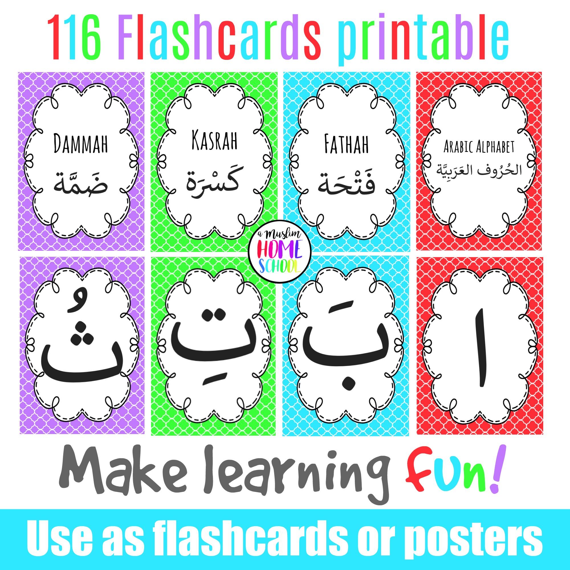 Arabic Alphabet Poster Flashcards with regard to Arabic Alphabet Poster Printable