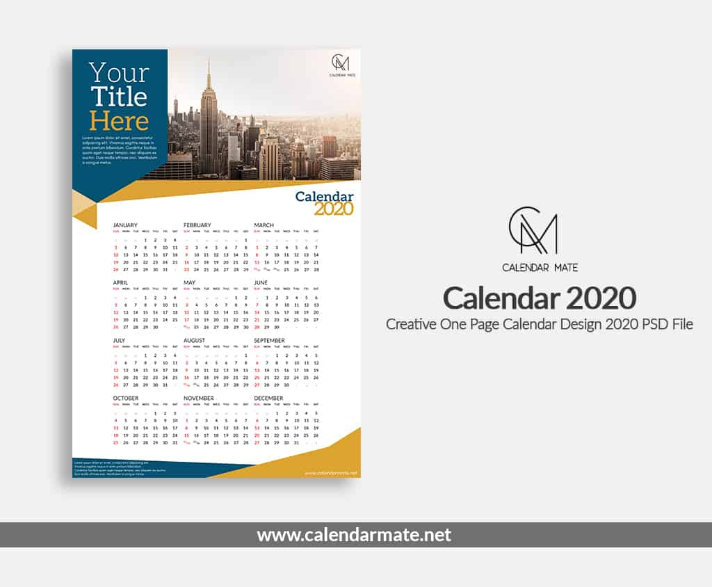 Aria: Creative One Page Calendar Design Template 2020 Psd File intended for 2020 Calendar Psd File