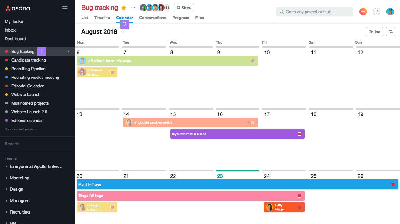 Asana Calendar View Options | Product Guide · Asana with Outlook We Couldn't Find This Meeting In The Calendar
