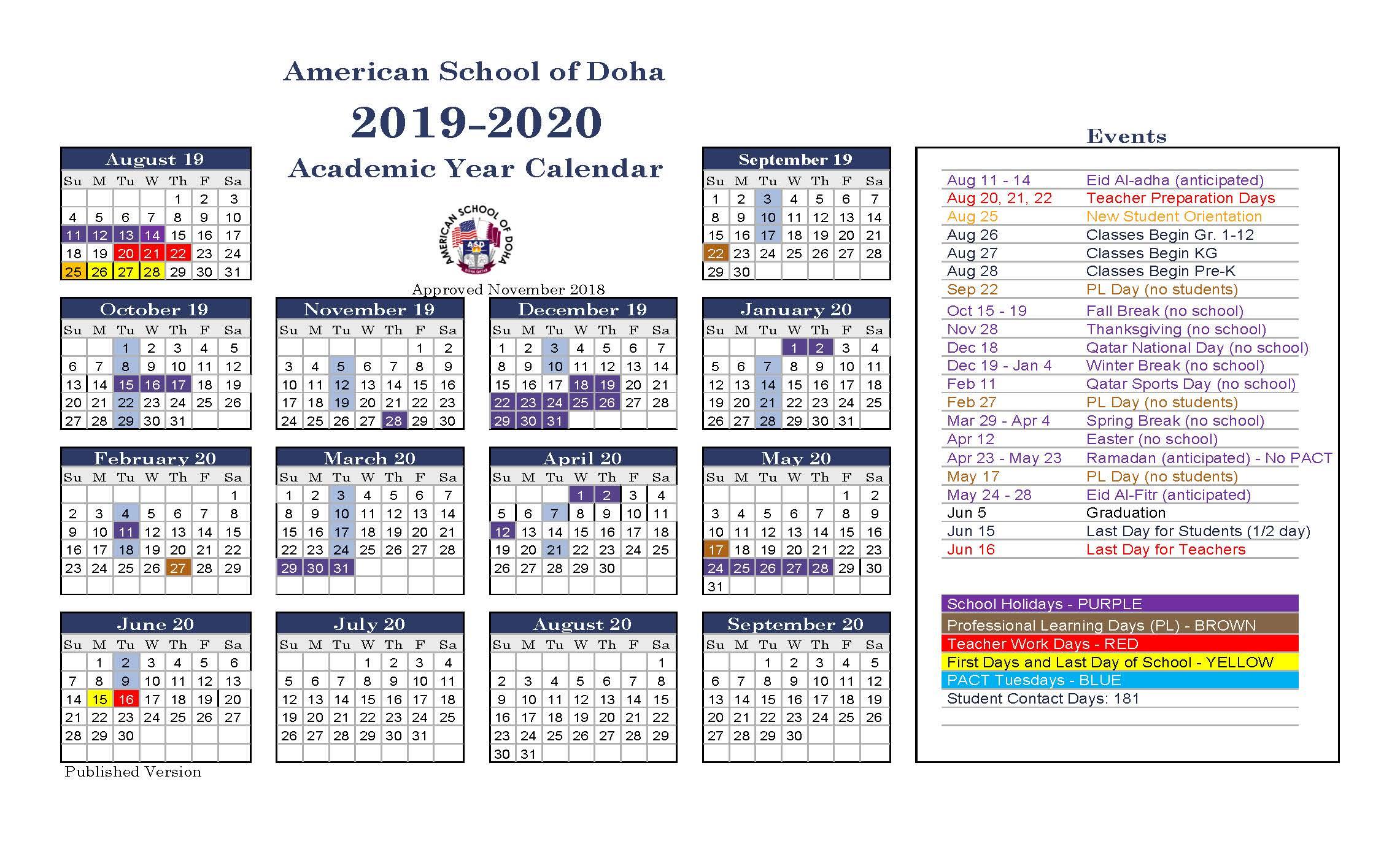Asd Calendar 20192020  American School Of Doha inside 2020 Calendar Qatar Printable