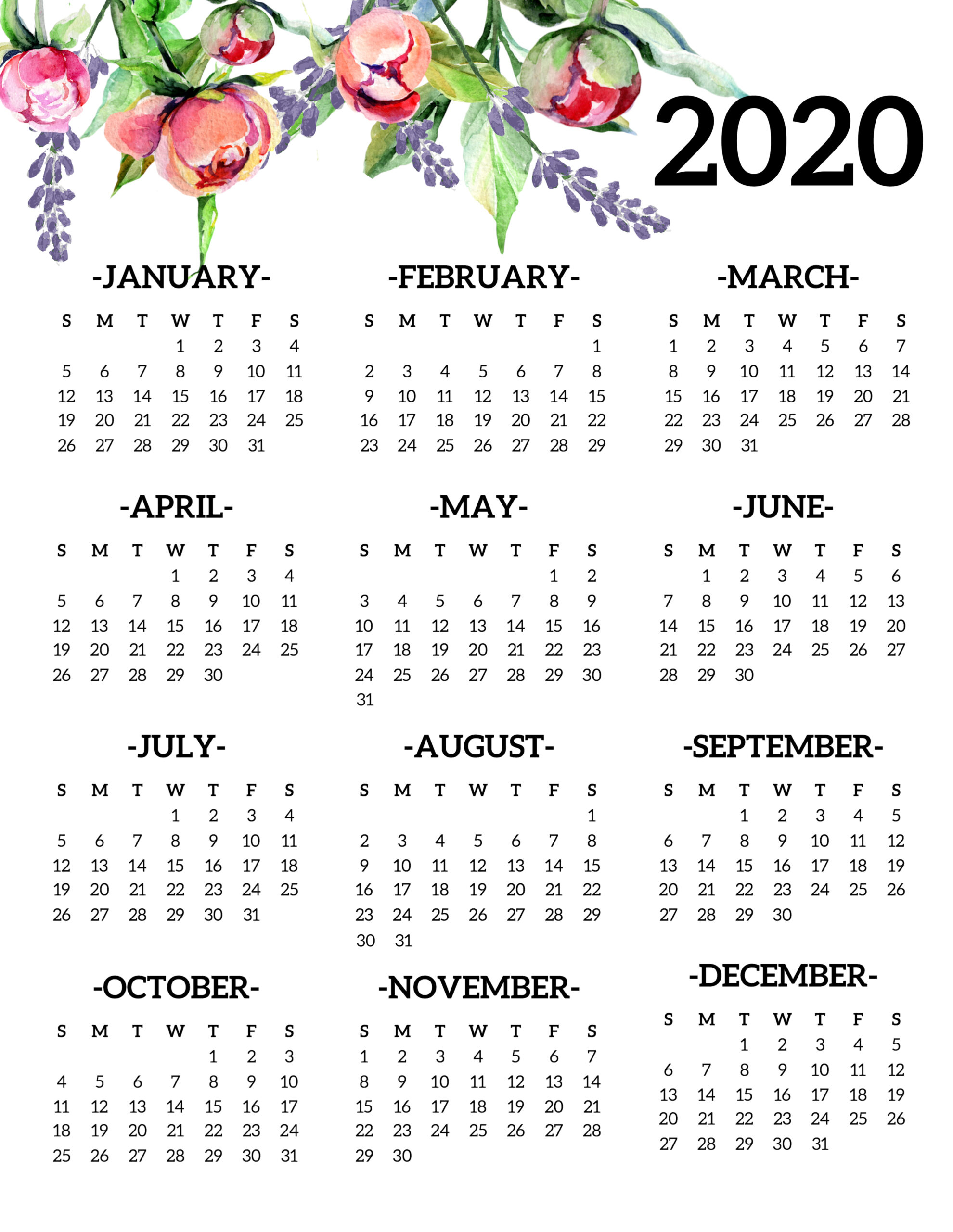At A Glance 2020  Yatay.horizonconsulting.co with 2020 At A Glance Calendar Printable