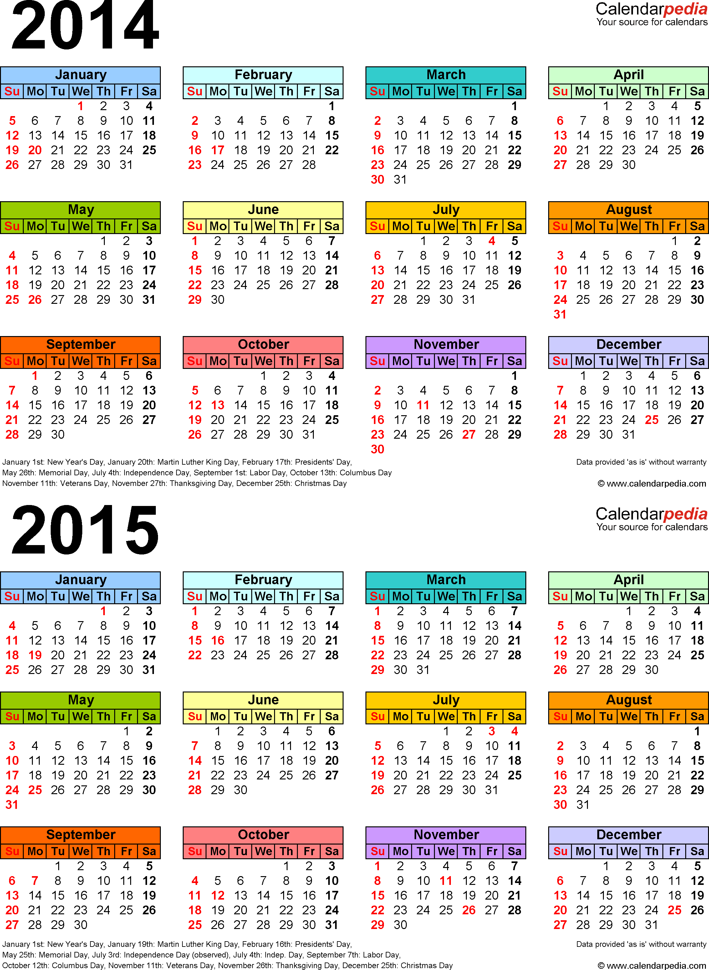 Ataglance Calendar 2014  Yearly Calendar 2014 in Calendar 2014 Printable