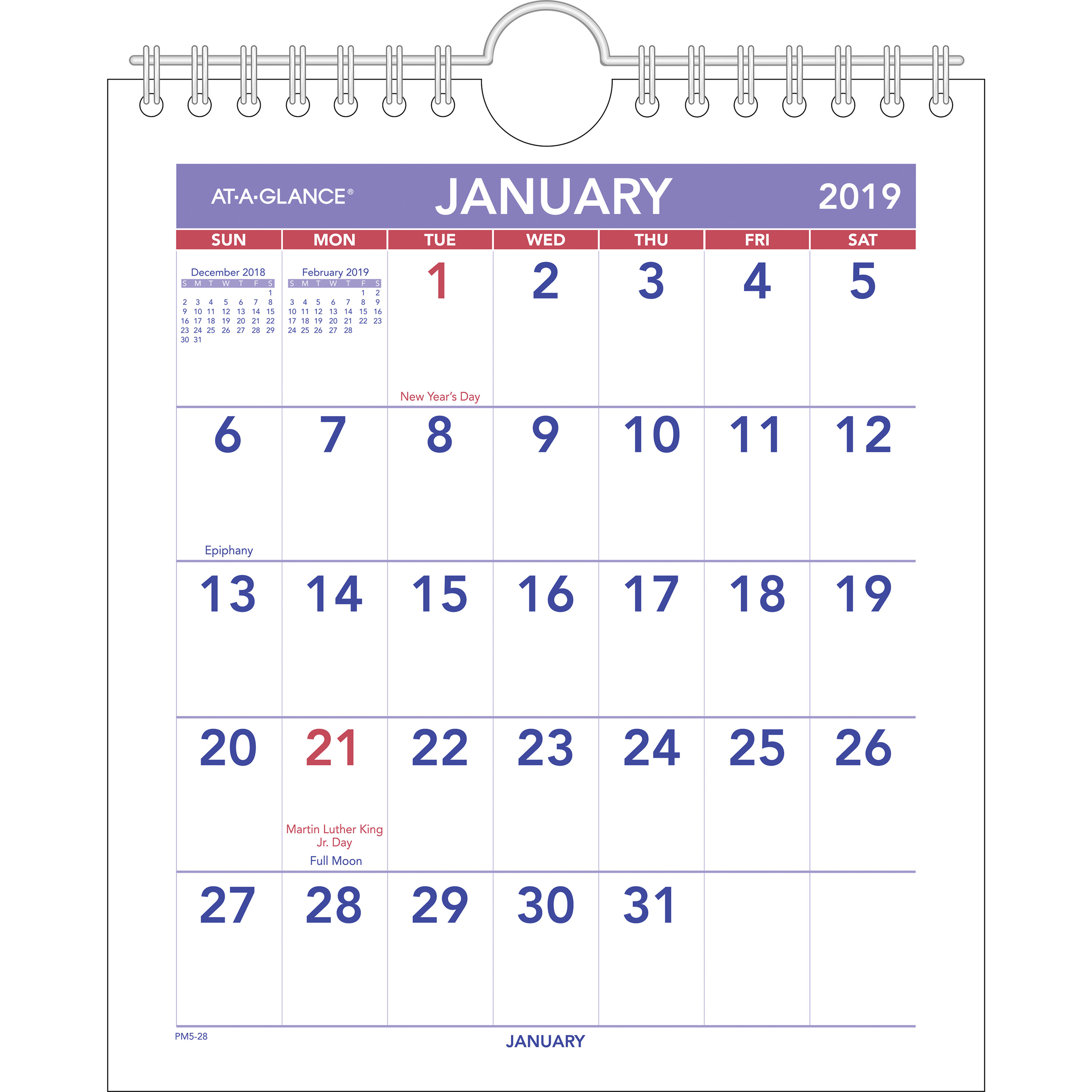 "Ataglance Mini Walldesk Monthly Calendar  Yes  Monthly  1 Year   January 2020 Till December 2020  1 Month Single Page Layout  6 12"" X 7  12"" inside 3 Month Calendar Holder"