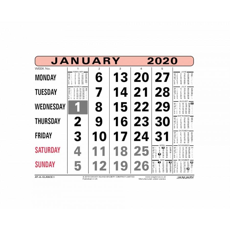 Ataglance Monthly Calendar 2020 within Kodak Calendar Maker