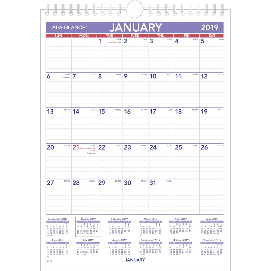 "Ataglance Recycled Monthly Wall Calendar  Yes  Monthly  1 Year   January 2020 Till December 2020  1 Month Single Page Layout  8"" X 11""   Wire with 3 Month Calendar Holder"